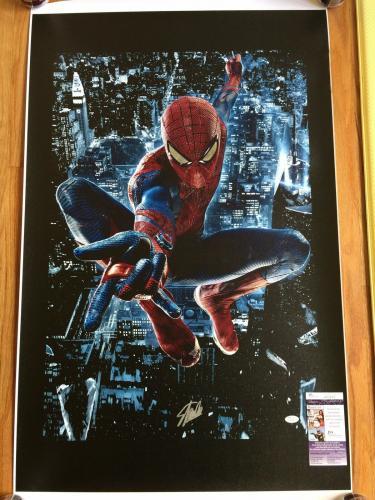 MARVEL COMICS STAN LEE signed 24x40 SPIDERMAN NEW YORK CITY GICLEE CANVAS JSA #3
