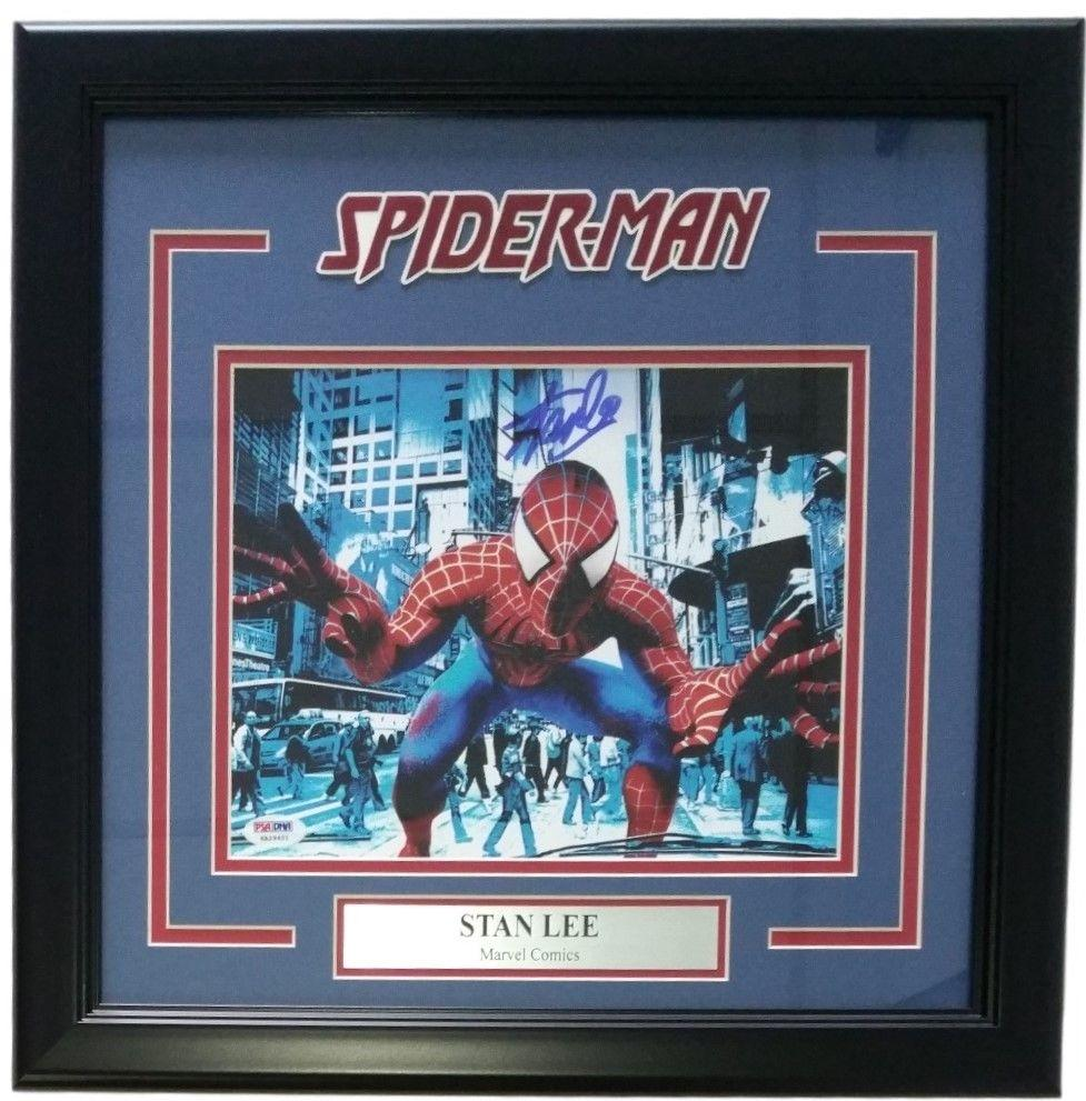 Stan Lee Marvel Comics Signed Framed 8x10 Spiderman Photo PSA
