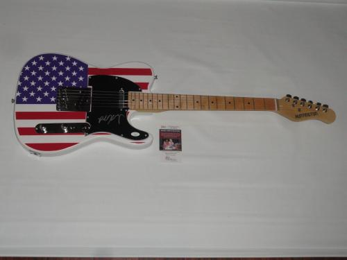 Robby Krieger Signed Usa Flag Electric Guitar The Doors Proof Jsa Coa