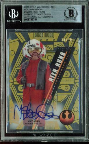 Mike Quinn Signed 2016 Star Wars High Tek Gold Rainbow #SW99 Card 38/50 BAS Slab