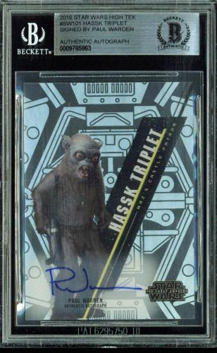 Paul Warren Signed 2016 Star Wars High Tek #SW101 Hassk Triplet Card BAS Slabbed