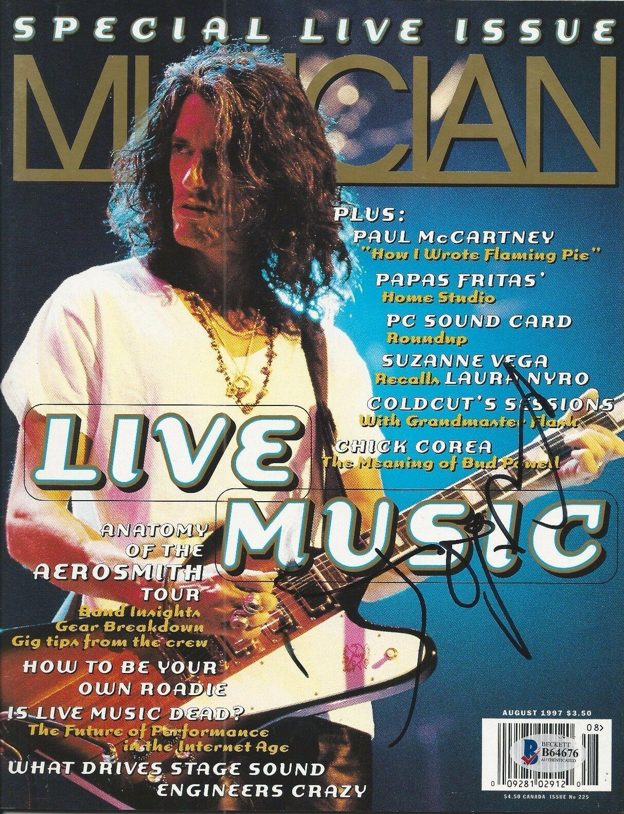 JOE PERRY (Aerosmith) Signed MUSICIAN Magazine with Beckett COA - NO LABEL
