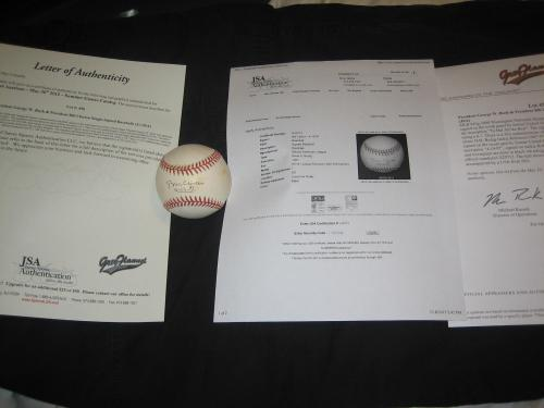 Bill Clinton Hand Signed Jackie Robinson Day At Shea Inscribed Baseball Jsa Rare