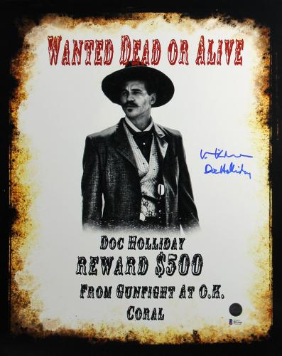 """Val Kilmer Tombstone """"Doc Holliday"""" Signed 16X20 Photo BAS 1"""