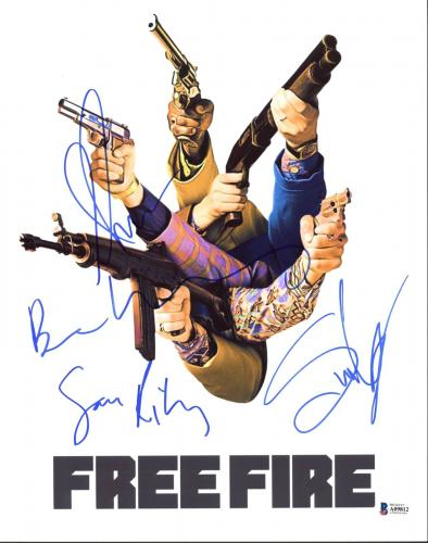 Free Fire (Armie Hammer, Sam Riley +2) Signed 11X14 Photo BAS #A09812