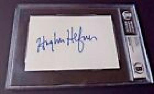 Hugh Hefner Playboy Signed Autographed 4x6 Index Card Beckett Certified Slabbed
