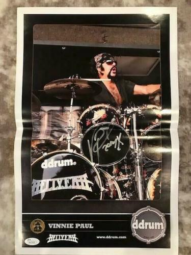 VINNIE PAUL HAND SIGNED 11x17 COLOR POSTER+COA   PANTERA DRUMMER    AWESOME POSE