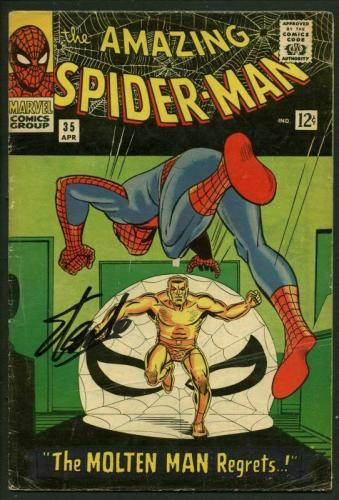 Stan Lee Signed Amazing Spider-Man #35 Comic Book Molten Man PSA/DNA #V07970