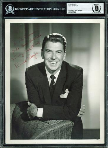 "Ronald Reagan ""Every Good Wish"" Signed 8x10 B&W Photo BAS Slabbed"