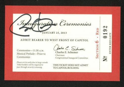 Barack Obama Signed 2013 3.5x5.25 Second Inaugural Ceremony Ticket BAS #A72879