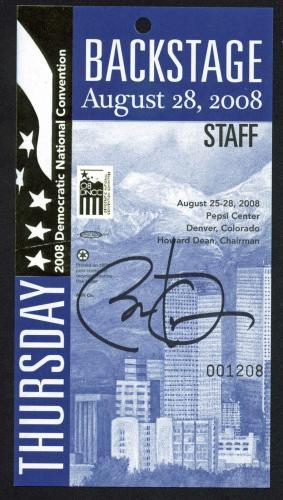 Barack Obama Signed 4x7.5 2008 DNC Backstage Pass Autographed BAS #A72881