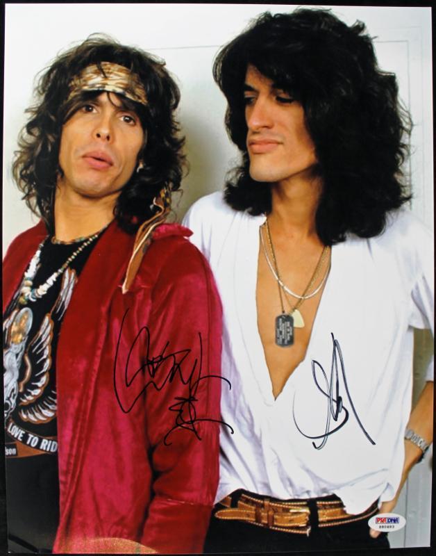Autographed Joe Perry Photograph - Steven Tyler & Aerosmith 11x14 Psa dna #s80483