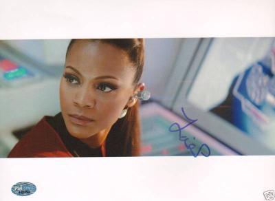 """Zoe Saldana Signed """"Star Trek"""" 8x10 Photo PSA/DNA COA"""