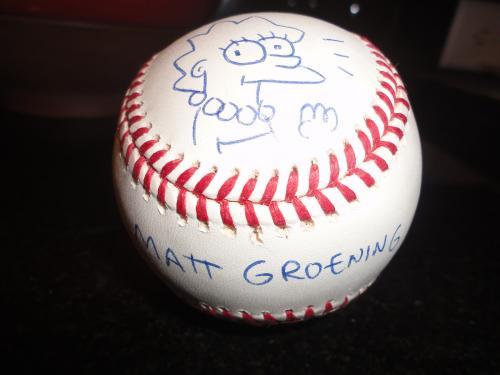 Matt Groening Signed Lisa Simpson Sketch On Baseball   Best Ever      Jsa Letter