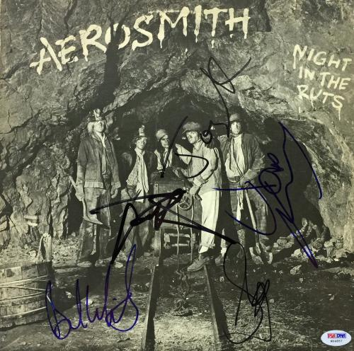 Aerosmith Group Signed Night In The Ruts Album Cover Tyler +4 Psa/dna #w04857