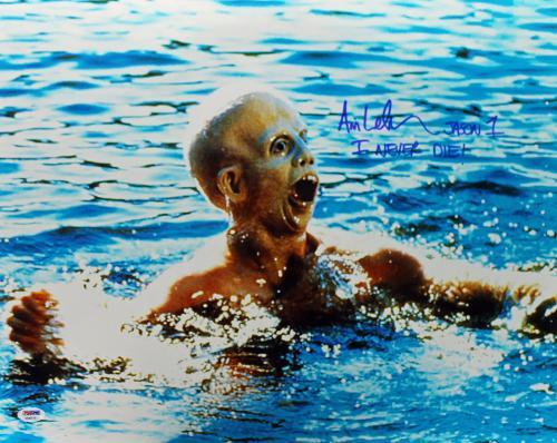 "Ari Lehman ""Jason 1 I Never Die"" Signed Friday The 13th 16X20 Photo PSA/DNA 3"
