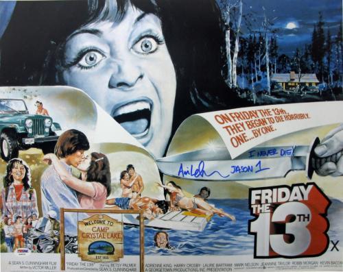 "Ari Lehman ""Jason 1 I Never Die"" Signed Friday The 13th 16X20 Photo PSA/DNA 1"