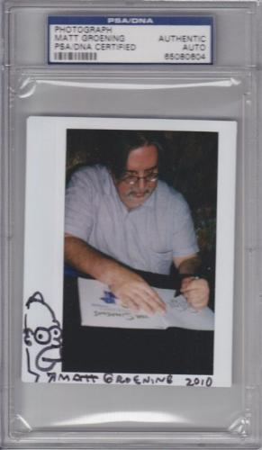 "MATT GROENING Signed Autographed ""HOMER SIMPSON"" Sketch Photo PSA/DNA SLABBED"