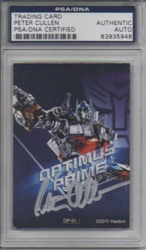 VERY RARE!!! Peter Cullen Signed TRANSFORMERS 2011 OPTIMUS PRIME Card PSA/DNA