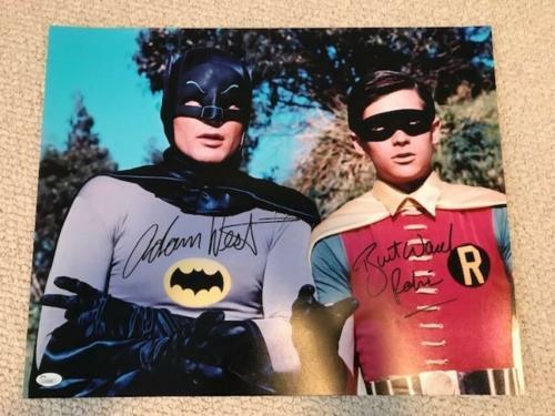 ADAM WEST+BURT WARD SIGNED 16x20 PHOTO+COA      BATMAN+ROBIN       JSA CERTIFIED