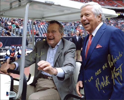 George H.W. Bush & Robert Kraft Signed 8X10 Photo BAS #A05127