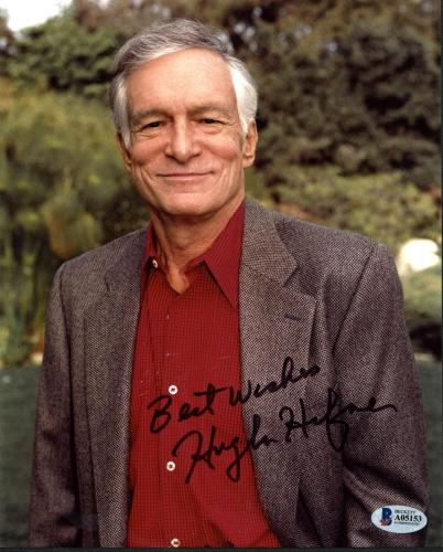 "Hugh Hefner Playboy ""Best Wishes"" Signed 8X10 Photo BAS #A05153"