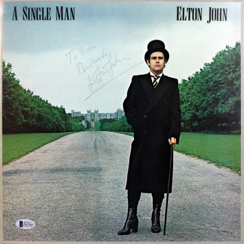 "Elton John""Best Wishes"" Signed A Single Man Album Cover BAS #D67065"