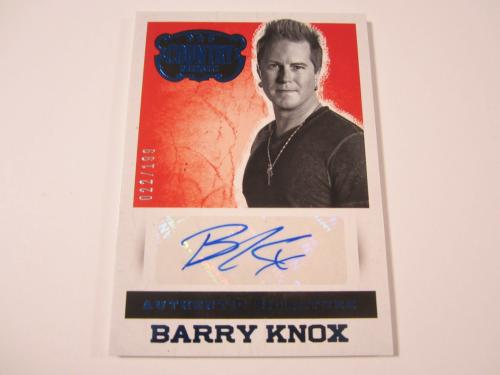 Barry Knox 2014 Panini Country Music Blue Autographed Card #'d 22/199 Parmalee