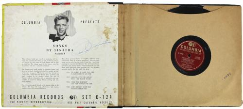 Frank Sinatra Signed 1947 Songs By Sinatra Volume 1 Album Cover W/ Vinyl JSA