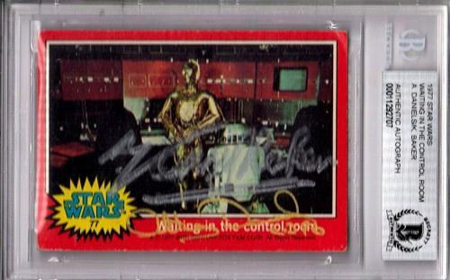 1977 Star Wars ANTHONY DANIELS, KENNY BAKER Signed Card SLABBED Beckett BAS