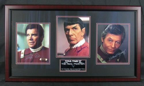 William Shatner Leonard Nimoy DeForest Kelly Signed Framed 8x10 Star Trek Photo