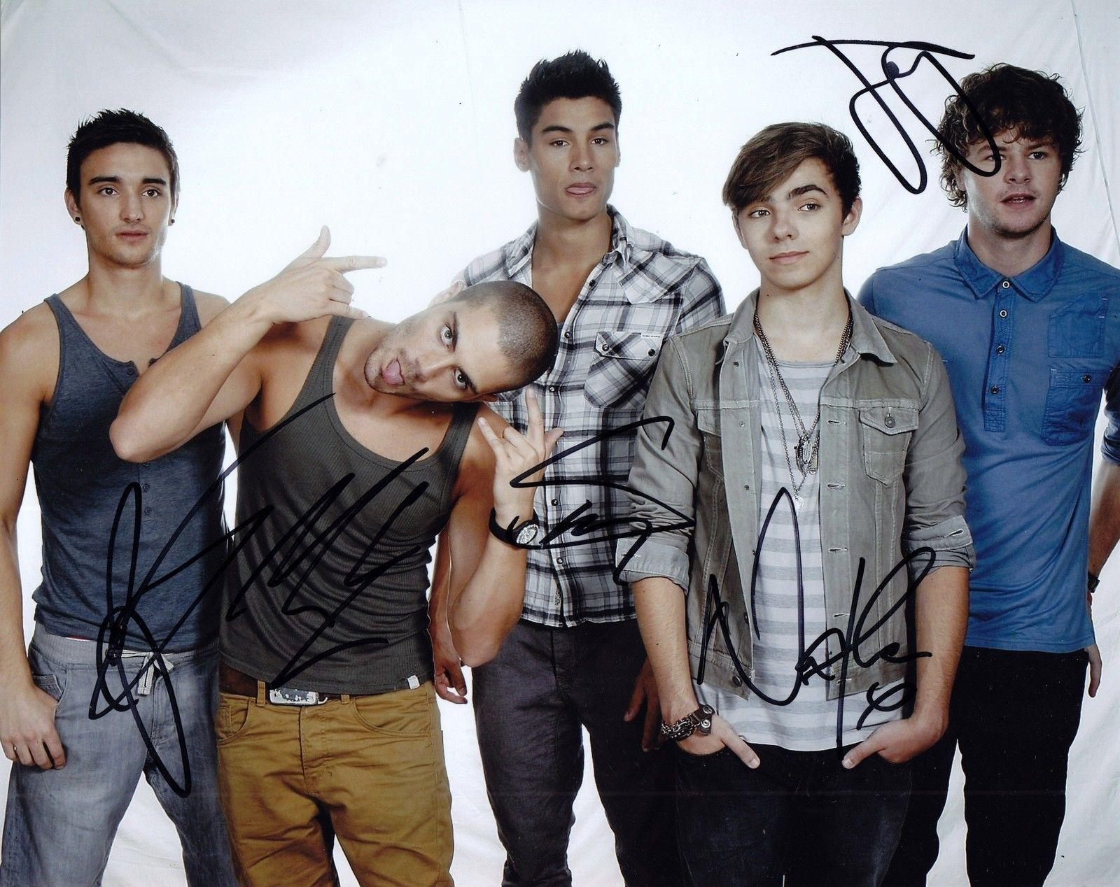 The Wanted Group Signed 8x10 Photo W/COA Max Nathan Tom Siva Jay