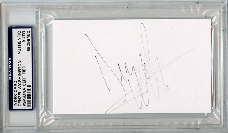 Denzel Washington Signed 3X5 Index Card PSA/DNA Slabbed #65098450