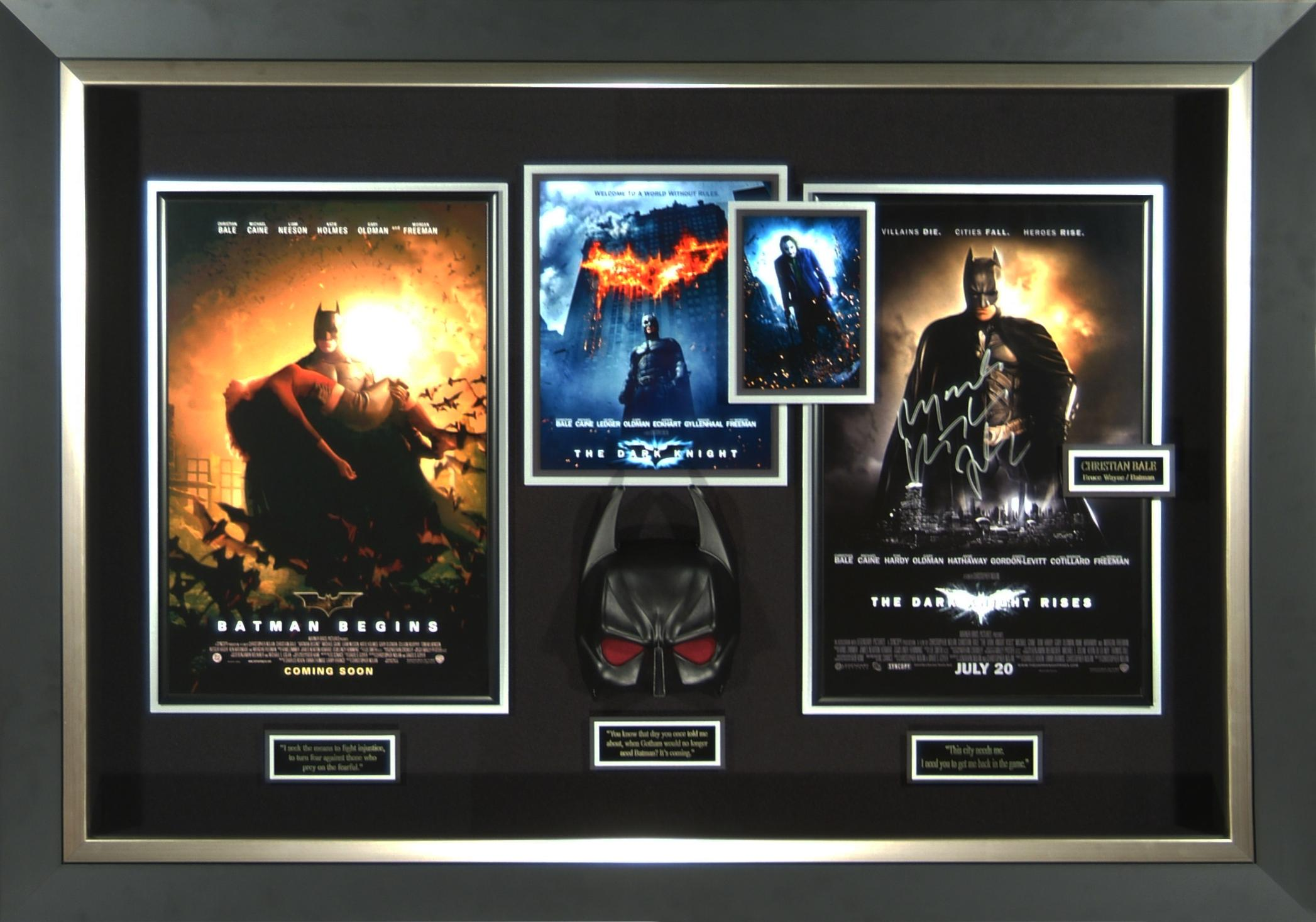 Dark Knight Trilogy Christian Bale Signed Poster Framed