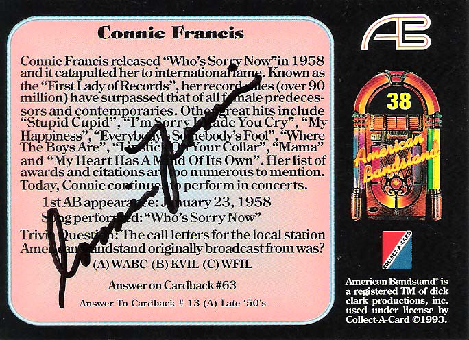 CONNIE FRANCIS-Pop Singer-Top Charting Female Vocalist of the 1950's and  60's-Signature Song was