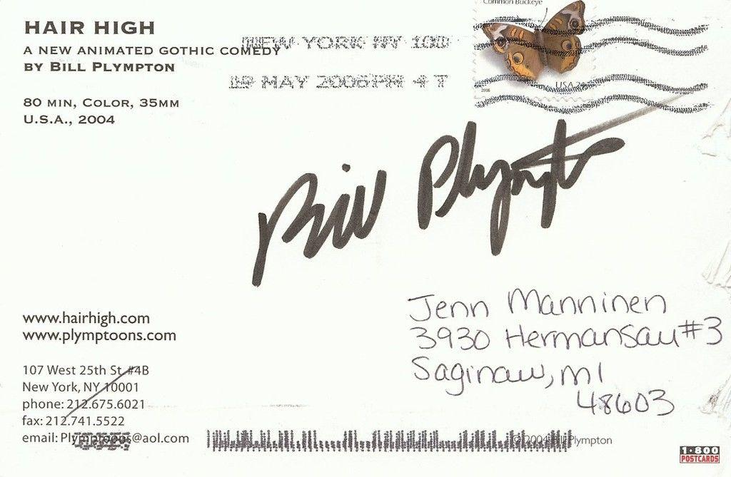 Bill Plympton cartoonist Signed Hair High Postcard