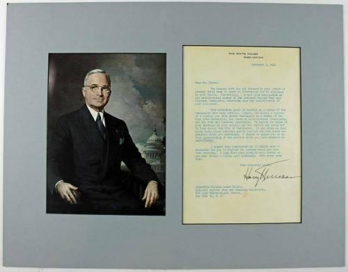 Harry Truman Signed 7.25X10 Letter (1946) On White House Letterhead JSA #X74189