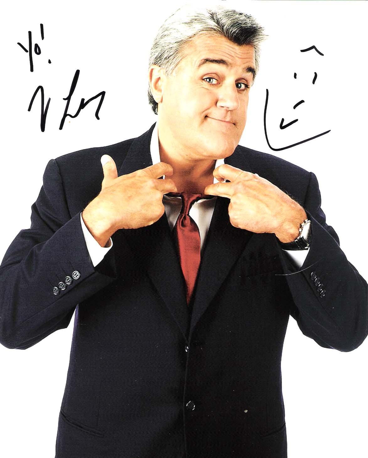 """JAY LENO - NBC's """"THE TONIGHT SHOW with JAY LENO""""  Signed 8x10 Color Photo"""