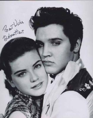 DOLORES HART HAND SIGNED 8x10 PHOTO+COA       AMAZING POSE WITH ELVIS PRESLEY