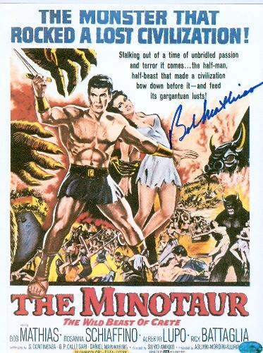 Bob Mathias autographed Photo (The Minotaur 1950s movie poster image- USA Olympic Champion) 8x11 paper thin picture