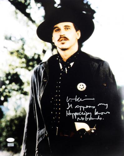 "Val Kilmer Tombstone ""Hypocrisy Knows No Bounds"" Signed 16X20 Photo JSA"
