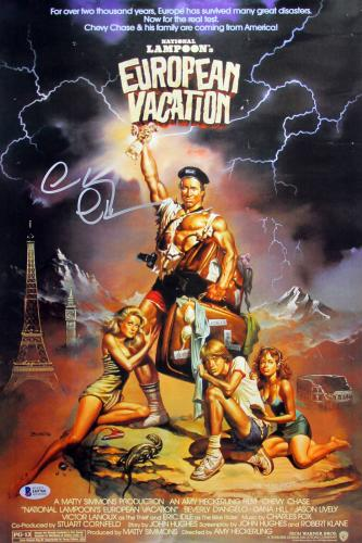 Chevy Chase European Vacation Signed 12x18 Mini Movie Poster BAS Witnessed