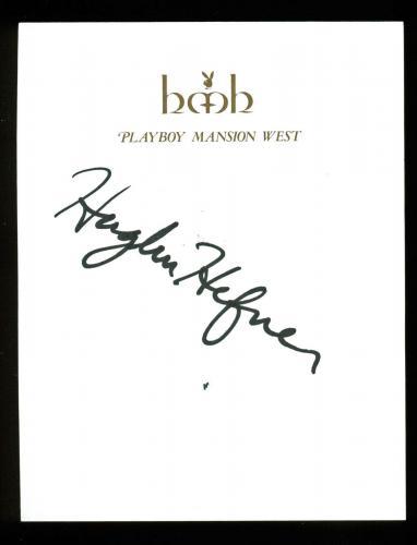 Hugh Hefner Signed 4.25x5.5 Cut Signature On Playboy Mansion West Letterhead PSA