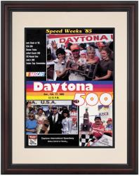 "Framed 8 1/2"" x 11"" 27th Annual 1985 Daytona 500 Program Print - Mounted Memories"
