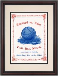 1875 Yale Bulldogs vs Harvard Crimson 8.5'' x 11'' Framed Historic Football Poster - Mounted Memories