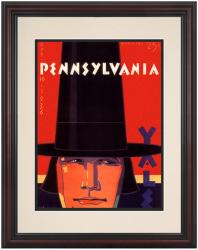 1936 Yale Bulldogs vs Penn Quakers 8.5'' x 11'' Framed Historic Football Poster