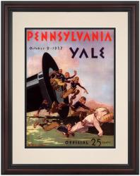 1937 Yale Bulldogs vs Penn Quakers 8.5'' x 11'' Framed Historic Football Poster - Mounted Memories