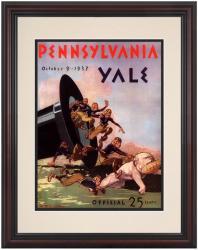 1937 Yale Bulldogs vs Penn Quakers 8.5'' x 11'' Framed Historic Football Poster