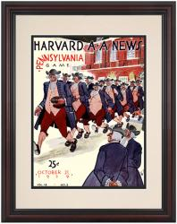 1939 Harvard Crimson vs Penn Quakers 8.5'' x 11'' Framed Historic Football Poster - Mounted Memories