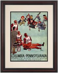 1942 Penn Quakers vs Columbia Lions 8.5'' x 11'' Framed Historic Football Poster